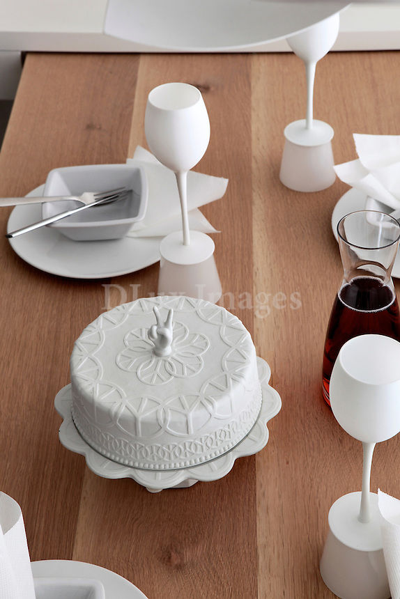 dinnerware on wooden table
