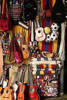 Guitars and other Salvadoran handicrafts for sale in the Excuartel Market in downtown San Salvador, El Salvador