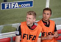 FUSSBALL WM 2014                HALBFINALE Brasilien - Deutschland          08.07.2014 Andre Schuerrle (li, Deutschland) und Mario Goetze (re, Deutschland)