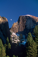 799451449 majestic half dome and granite formations frame a rising moon on a late fall day in yosemite national park california
