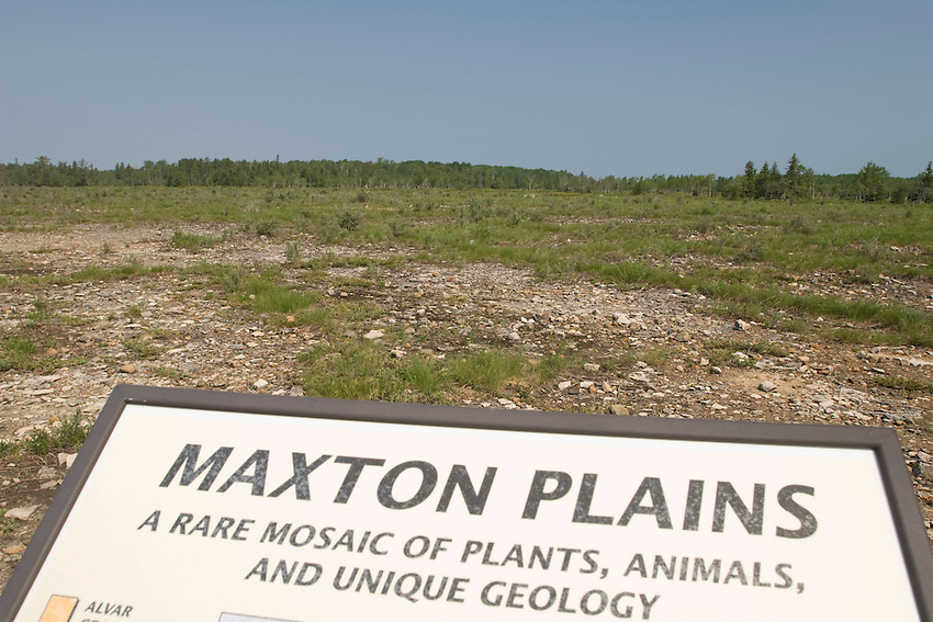 A sign provides information on the alvar landscape of the Maxton Plains of Drummond Island in Michigan's Upper Peninsula.
