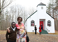 From left, Derrick Muchembe poses with his wife Esperance Nyabanama after a Sunday service at The Africa Lighthouse Baptist Temple near Stony Point in Albemarle County, VA. The small 10 family congregation is made up of African refugees and immigrants who's service is spoken in Swahili and translated into English. They've just signed a rent-own lease for a small church after meeting for three years at a local school. Photo/The Daily Progress/Andrew Shurtleff
