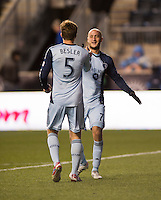 Aurelien Collin, Matt Besler.  Sporting Kansas City defeated Philadelphia Union, 3-1. at PPL Park in Chester, PA.