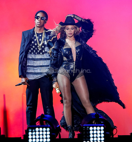 HOUSTON, TX - JULY 18: Beyonce and JAY Z perform on the On The Run Tour at the Minute Maid Park on Friday, July 18, 2014, in Houston, Texas. Credit: PGSprecher/MediaPunch
