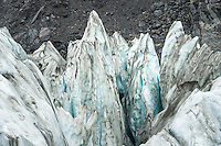 Ice pinnacles on Fox Glacier, Westland Tai Poutini National Park, UNESCO World Heritage Area, West Coast, New Zealand, NZ