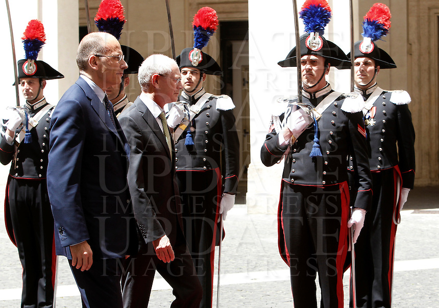 Il Presidente del Consiglio Enrico Letta accoglie il Presidente del Consiglio Europeo Herman Van Rompuy, a destra, a Palazzo Chigi, Roma, 31 maggio 2013.<br /> Italian Premier Enrico Letta, left, and European Council President Herman Van Rompuy review the honor guard, at Chigi Palace, Rome 31 May 2013.<br /> UPDATE IMAGES PRESS/Isabella Bonotto