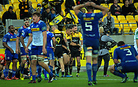 Cory Jane congratulates Ngani Laumape on his try during the Super Rugby match between the Hurricanes and Stormers at Westpac Stadium in Wellington, New Zealand on Friday, 5 May 2017. Photo: Dave Lintott / lintottphoto.co.nz
