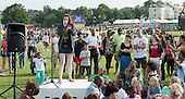 """Grace Savage, beatboxer (www.facebook.com/GraciousBeatbox), at """"Showtime"""", part of the London 2012 Festival of Arts to celebrate the London Olympics.  A family fun spectacle including dance, painting, music, acrobatics and some large mobile dynosaurs walking amongst the crowd.  On Blackheath Common, Saturday August 4th and funded by the Mayor of London and Arts Council England."""