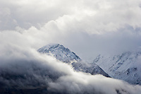 Snow covered mountains of the Humbolt range after summer snow storm, New Zealand