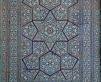 Detail of mosaic tiling, in a room in the Harem of Tash Khauli Palace, 1830-38, Khiva, Uzbekistan, Khiva, Uzbekistan, pictured on July 6, 2010, in the morning. Commissioned by Allah Kuli Khan the Tash Kauli palace is a huge complex containing 163 rooms which took its architects, Tajiddin and Kalandar, 10 years to build. The harem, occupying about half of the palace has 5 aiwan terraces, with delicately carved wooden pillars,  behind which were the quarters for the khan and his wives. Khiva, ancient and remote, is the most intact Silk Road city. Ichan Kala, its old town, was the first site in Uzbekistan to become a World Heritage Site(1991). Picture by Manuel Cohen.
