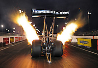 Jan. 18, 2012; Jupiter, FL, USA: NHRA top fuel dragster driver Doug Kalitta during testing at the PRO Winter Warmup at Palm Beach International Raceway. Mandatory Credit: Mark J. Rebilas-