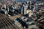 Nederland, Zuid-Holland, Rotterdam, 20-03-2009. Aanleg Rotterdam Centraal, nieuw station ook wel OV-terminal (of OV-knooppunt). Vervanging en uitbreiding van het oude Centraal Station (linksonder) was noodzakelijke omdat in de toekomst ook HSL-Zuid en RandstadRail van het nieuwe vervoersknooppunt gebruik zullen maken. Verder in beeld: het Groothandelsgebouw (rechtsonder) met daar direct boven de Weena-toren.  Air view on the center of Rotterdam, the replacement and enlargement of the old Central Station of Rotterdam (bottom left), in connection with the HSR. Top of pic the river Meuse (Maas)..Swart collectie, luchtfoto (toeslag); Swart Collection, aerial photo (additional fee required).foto Siebe Swart / photo Siebe Swart