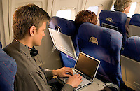 Laptop on airplane
