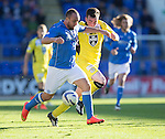 St Johnstone v St Mirren....04.10.14   SPFL<br /> Lee Croft and Sean Kelly<br /> Picture by Graeme Hart.<br /> Copyright Perthshire Picture Agency<br /> Tel: 01738 623350  Mobile: 07990 594431