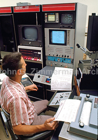 Scientists at NASA Jet Propulsion Lab in Pasadena California devise ingenious system for computerized analysis of human chromosomes. 1974. Photo by John G. Zimmerman.
