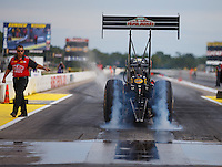 Aug 19, 2016; Brainerd, MN, USA; NHRA top fuel driver Leah Pritchett during qualifying for the Lucas Oil Nationals at Brainerd International Raceway. Mandatory Credit: Mark J. Rebilas-USA TODAY Sports