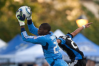 Sean Johnson (left) grabs the ball against Anthony Ampaipitakwong (right)The Chicago Fire defeated the San Jose Earthquakes after going 5-4 on penalty kicks, after a 2-2 score in regulation during the US Open Cup at Buck Shaw Stadium in Santa Clara, California on May 24th, 2011.