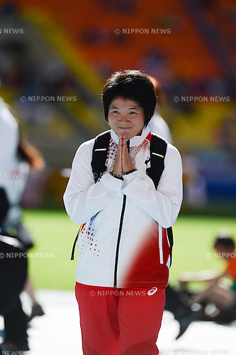 Yuki Ebihara (JPN), AUGUST 16, 2013 - Athletics : Yuki Ebihara of Japan is pictured after the women's javelin throw qualification at the 14th IAAF World Championships at the Luzhniki Stadium, Moscow, Russia. (Photo by Takashi Okui)