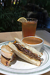 One of Alexa's Garden Cafe lunch specials' s, Meat Loaf sandwich and Tomato Basil soup at Swansons Nursery on Friday, July 11, 2008 In Seattle.  The indoor gardens, plants and water features provides a relaxing backdrop to those dining at Alexa's Garden Cafe. . Jim Bryant Photo. ©2010. All Rights Reserved.