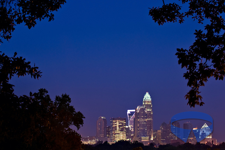 Skyline of Charlotte seen through the trees of a nearby park on a clear, summer morning..