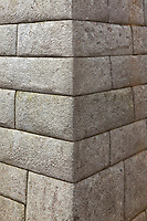 """Detailed stone masonry. Machu Picchu, the ancient """"lost city of the Incas"""", 1400 CA, 2400 meters, discovered by Hiram Bingham in 1911."""