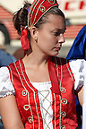 Youn Women wearing traditional costume of Bugac Pusza - Hungarian Regional Gastronomic Festival 2009 - Gyor ( Gy?r ) Hungary