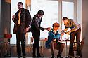 English National Opera presents, in a co-production with Dutch National Opera, Amsterdam, Puccini's LA BOHEME, at the London Coliseum. Picture shows: Ashley Riches (Schaunard), Zach Borichevsky (Rodolfo), Simon Butteriss (Benoit), Nicholas Masters (Colline)