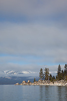 """Lake Tahoe 14"" - This point and snowy mountain were photographed from a boat on the East shore of Lake Tahoe."