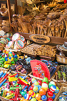 Olivewood items handmade from timber of olive trees on sale in gifts and souvenirs shop in Kerkyra, Corfu Town, , Greece