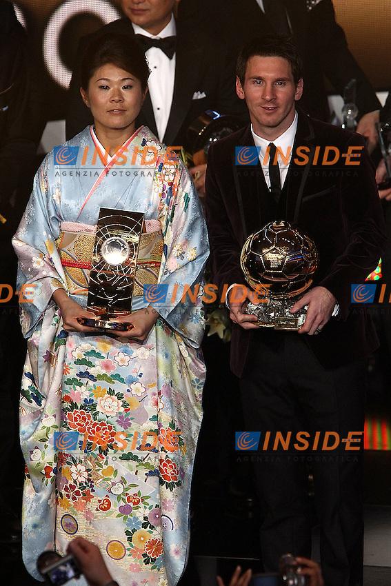 Homare Sawa e Lionel Messi.Zurigo 09/01/2012 Kongresshouse.Football / Calcio.Ballon d'Or awarding ceremony - Pallone d'oro 2012.Foto Insidefoto Paolo Nucci