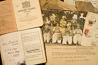 The personal papers of Sultan Mohammad Quraishi, seated third from left in a picture taken in 1936 with his British Indian Army colleagues. He joined up in the 1920s in Jhelum, a big recruiting area for the British. He went onto fight for the Allies in World War II (WW2), when he was captured (see message bottom right). Many of his descendents, like thousands of other families from the Jhelum area on the Grand Trunk Road, now live in Britain.