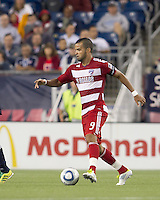 FC Dallas forward Maicon Santos (9) at midfield. In a Major League Soccer (MLS) match, the New England Revolution defeated FC Dallas, 2-0, at Gillette Stadium on September 10, 2011.