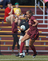 Virginia Tech forward Jazmine Reeves (5) dribbles down the wing. Virginia Tech (maroon) defeated Boston College (white), 1-0, at Newton Soccer Field, on September 22, 2013.