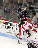 Drew Ellement (NU - 2), Matt Lane (BU - 23) - The Boston University Terriers defeated the visiting Northeastern University Huskies 5-0 on senior night Saturday, March 9, 2013, at Agganis Arena in Boston, Massachusetts.