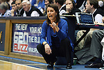 06 February 2012: Duke head coach Joanne P. McCallie. The Duke University Blue Devils defeated the University of North Carolina Tar Heels 96-56 at Cameron Indoor Stadium in Durham, North Carolina in an NCAA Division I Women's basketball game.