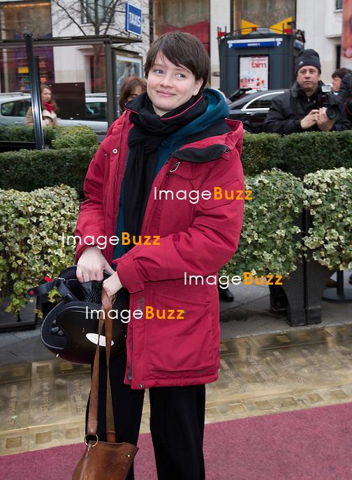 Pauline Etienne arrive au D&eacute;jeuner des nomm&eacute;s &agrave; la c&eacute;r&eacute;monie des C&eacute;sar 2014, au Fouquet's &agrave; Paris.<br /> France, Paris, 8/02/2014