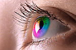 Closeup of a colorful woman's eye