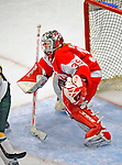 9 February 2008: Boston University Terriers' goaltender Allyse Wilcox, a Junior from Grand Blanc, Michigan, in action against the University of Vermont Catamounts at Gutterson Fieldhouse in Burlington, Vermont. Wilcox made 22 saves, as the Terriers shut out the Catamounts 2-0 in the Hockey East matchup...Mandatory Photo Credit: Ed Wolfstein Photo