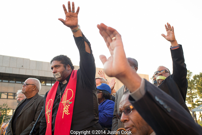 The Rev. William Barber II leads the first Moral Monday of 2014 Halifax Mall in Raleigh , N.C. on Monday, May 19, 2014. (Justin Cook)<br /> <br /> Since 2013 hundreds of people have gathered on Mondays when the North Carolina Legislature is in session to peacefully protest what they feel is a an extreme conservative agenda that endangers education, the poor, the unemployed, voting rights and organized labor in North Carolina. Many of the nonviolent protestors deliberately get arrested in acts of civil disobedience.