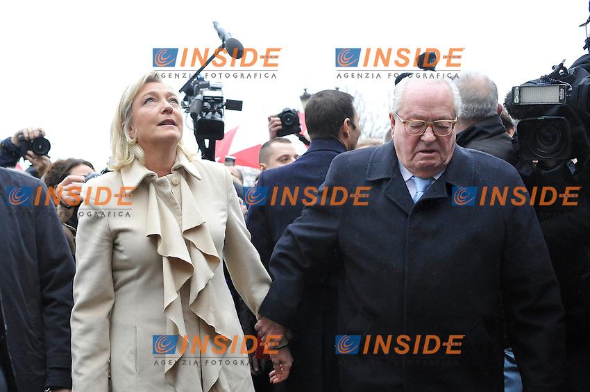 07-01-2012 Parigi <br /> Marine e Jean MArie Le Pen <br /> Commemorazione 600mo anniversario nascita Giovanna d'Arco <br /> Foto Panoramic / Insidefoto
