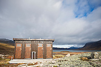 Outdoor toilets with scenic view at Alesjaure hut, Kungsleden trail, Lapland, Sweden