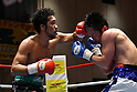 (L-R) Rikki Naito, Yusuke Nakagawa (JPN),<br /> APRIL 10, 2017 - Boxing :<br /> Rikki Naito of Japan hits Yusuke Nakagawa of Japan in the eighth round during the 8R lightweight bout at Korakuen Hall in Tokyo, Japan. (Photo by Hiroaki Yamaguchi/AFLO)