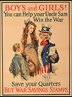 BNPS.co.uk (01202 558833)<br /> Pic: SAS/BNPS<br /> <br /> A unique collection of First World War propaganda posters have emerged for auction and are tipped to sell for &pound;25,000.<br /> <br /> The patriotic posters are emblazoned with powerful pictures and stirring words which inspired Americans to do their bit for the cause during the conflict.<br /> <br /> They belonged to respected stock market historian and analyst David Schwartz who moved to England in the early 1980s but died in 2013.<br /> <br /> His family has decided now is the time to put his 77 posters which were mainly collected in the 1980s in antique shops in his native New York up for auction to mark the centenary of the USA joining the First World War.