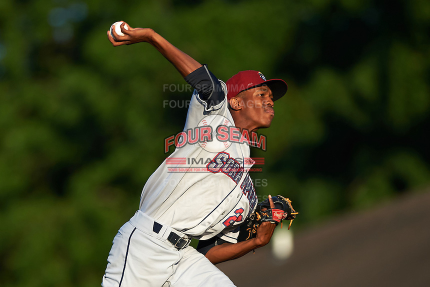 Mahoning Valley Scrappers starting pitcher Triston McKenzie (23) delivers a warmup pitch during a game against the Auburn Doubledays on July 19, 2016 at Falcon Park in Auburn, New York.  Mahoning Valley defeated Auburn 9-1.  (Mike Janes/Four Seam Images)