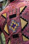 Close up of Native American Pow Wow Regalia. Example of ethnic pride, heritage and traditional folk art crafts.