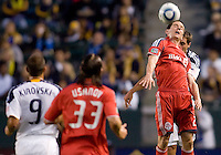 Toronto FC midfielder Sam Cronin (2) heads a ball away from advancing LA Galaxy midfielder Todd Dunivant (2). The LA Galaxy and Toronto FC played to a 0-0 draw at Home Depot Center stadium in Carson, California on Saturday May 15, 2010.  .