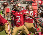 San Francisco 49ers quarterback Colin Kaepernick (7) fires pass downfield on Sunday, October 23, 2016, at Levis Stadium in Santa Clara, California. The Buccaneers defeated the 49ers 34-17.