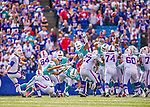 14 September 2014: Buffalo Bills kicker Dan Carpenter hits his fourth field goal of the game against the Miami Dolphins in the fourth quarter at Ralph Wilson Stadium at Ralph Wilson Stadium in Orchard Park, NY. The Bills defeated the Dolphins 29-10 to win their home opener and start the season with a 2-0 record. Mandatory Credit: Ed Wolfstein Photo *** RAW (NEF) Image File Available ***