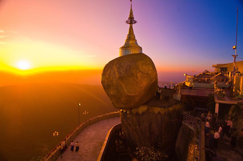 Kyaikhtiyo Myanmar  City pictures : Golden Rock at twilight, Kyaikhtiyo Pagoda, Mon State, Myanmar Burma ...
