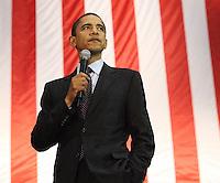 Barack Obama speaks at a San Antonio Rally at the Verizon Wireless Ampitheater before a crowd of 8,000 plus.  (Marvin Pfeiffer/PressPhotoIntl.com)